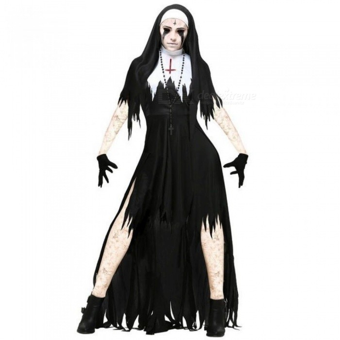 halloween nun cosplay costume women black vampire fantasy dress terror sister party disguise female fancy for