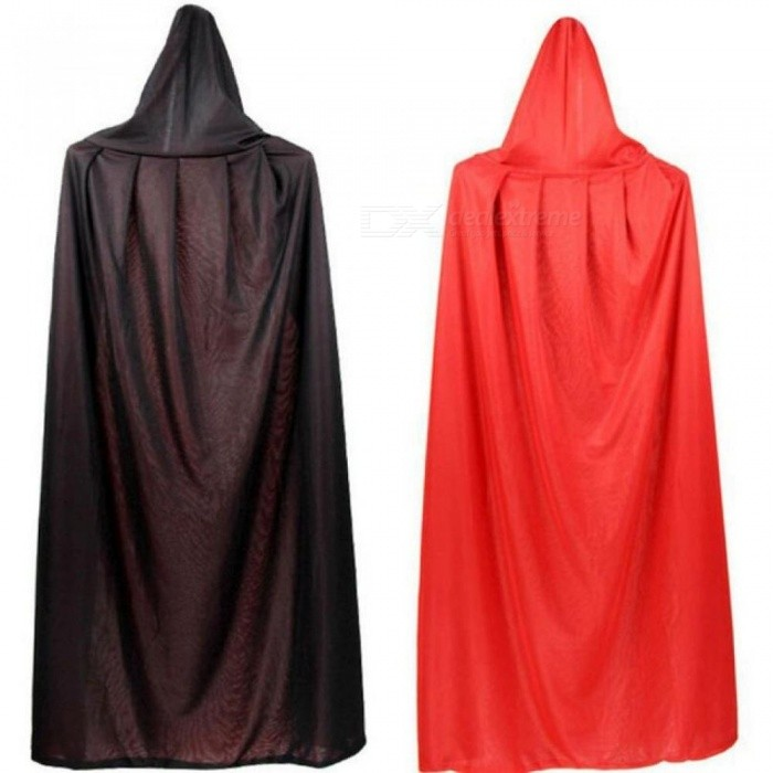 Halloween Cosplay Vampire Cloak Collar Hat Black And Red Double Cloak Witch Cloak For Adults And Kids
