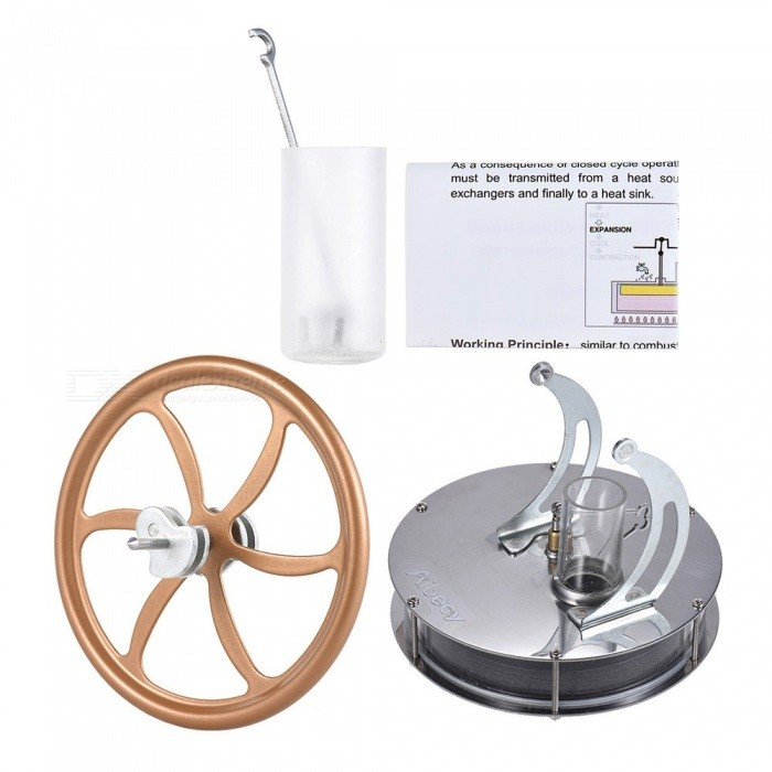 Stainless Steel Low Temperature Mini Air Stirling Engine Motor Model Heat Steam Education Toy Science Experiment Kit