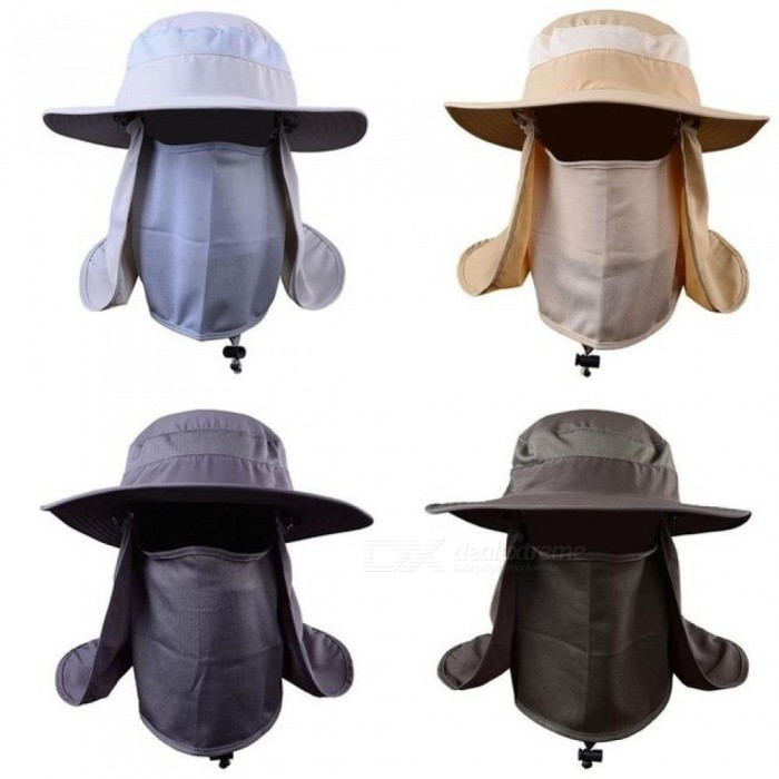 360 Degree Assembled Neck Cover Boonie Fish Camping Hunting Snap Hat Brim Cap Ear Sun Flap Sport White Beige