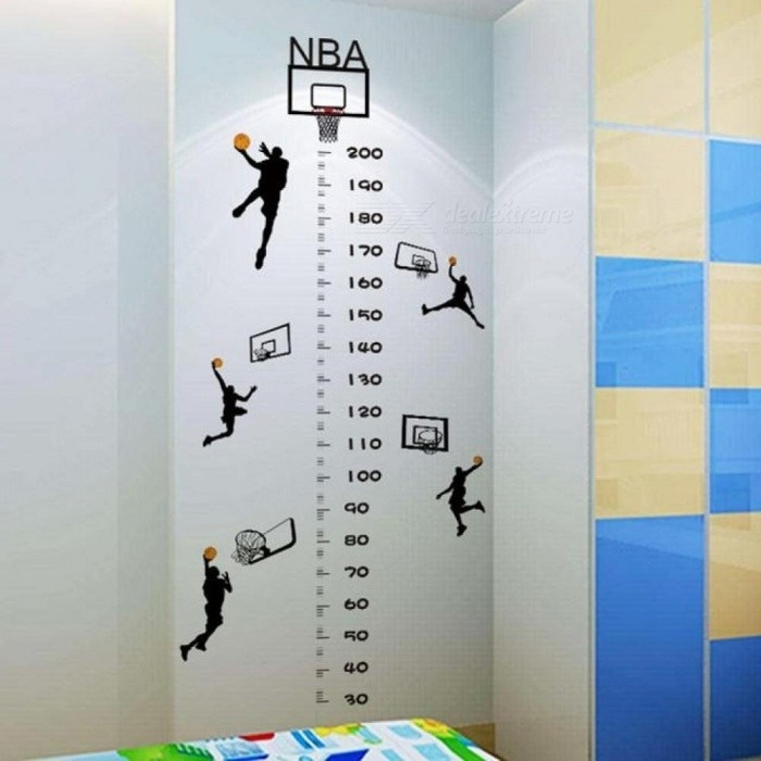 DIY Basketball Height PVC Wall Stickers Children's Room Letters Baby Kindergarten Decorative Murals Black