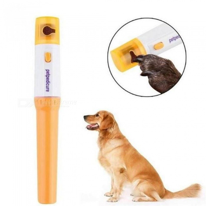 Pet Dog Cat Electric Nail Claw Grooming Grinder Trimmer Clipper File Pet Nail Scissors Yellow White  Color