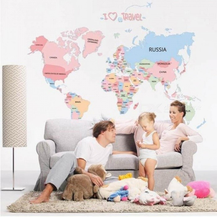 Creative Colorful English World MAP Letter Sticker DIY Vinyl Wall Stickers Kids Room Home Decor Art Decals 3D Wallpaper