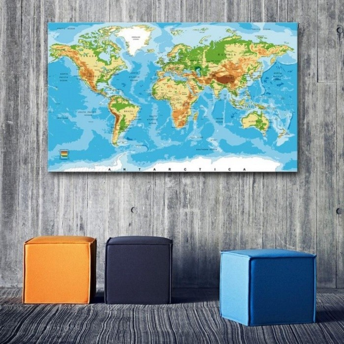 Large World Map Canvas Art Print Poster Modern Wall Picture For ...