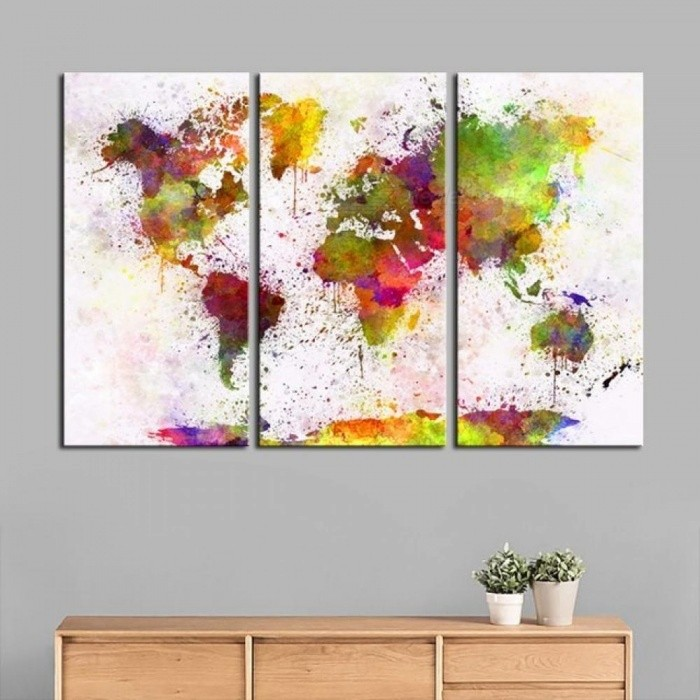 ecd9662f31 3 Panels Decorative Prints Large Wall Poster World Map Fashion Art Custom  Canvas Prints With Colorful