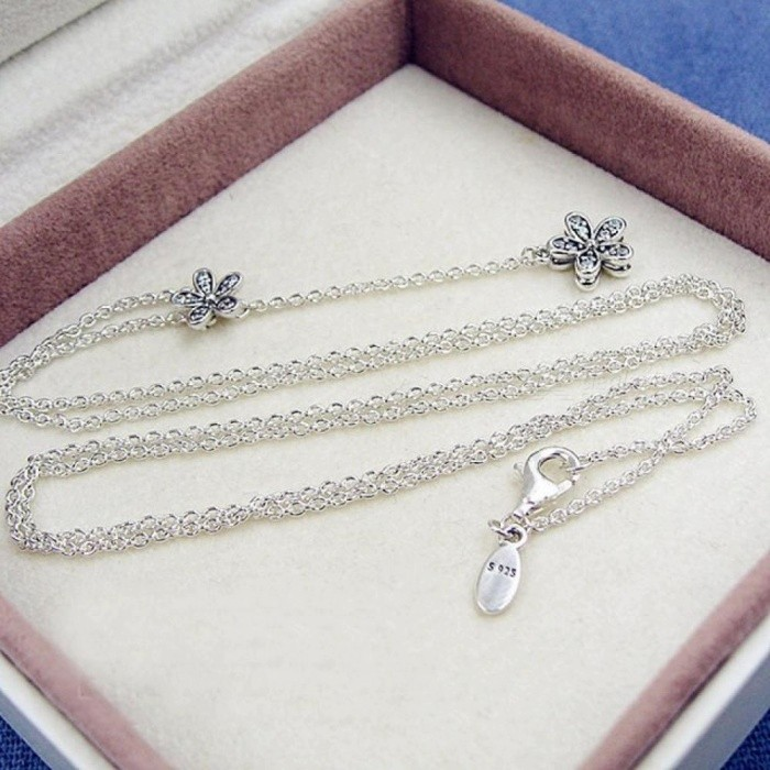144a1bbbc ... 925 Sterling Silver Necklace Dazzling Daisies With Cubic Zirconia Pendant  Necklace Women Wedding Gift Fine Pandora ...