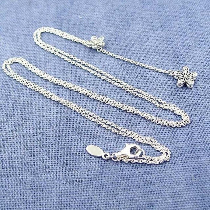 c1c91bae3 ... 925 Sterling Silver Necklace Dazzling Daisies With Cubic Zirconia Pendant  Necklace Women Wedding Gift Fine Pandora