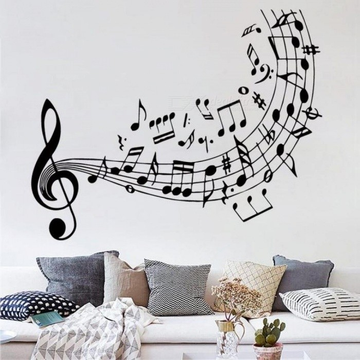 music notes treble clef art decor quality music wall decal vinyl