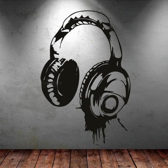 Headphones Music DJ Wall Stickers Art Design Wall Decal Available In Different Colors Wallpaper Decor Kids Bedroom Mural