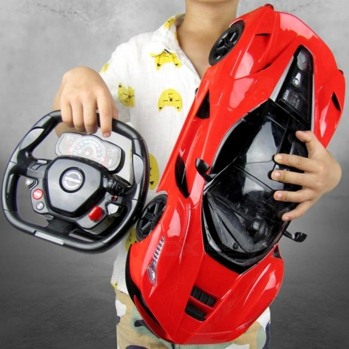 1:14 Electric RC Cars Steering wheel Remote Control Radio Control Cars Toys  For Boys Children Kids Gifts Flash Lights Red