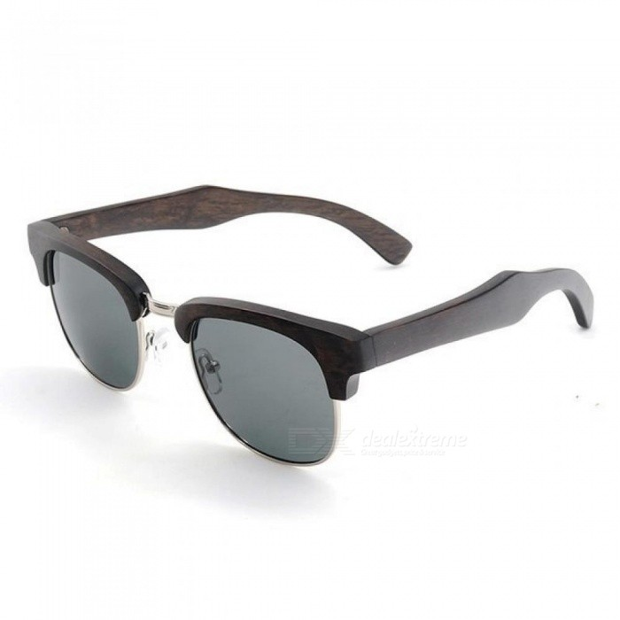 Half-Frame Cat Eye Sunglasses Women Men wooden Glasses Summer Style beach Eyewear In Gifts Wood Box Black