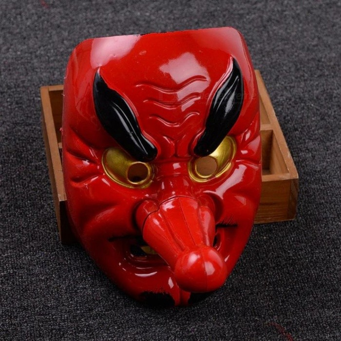 Halloween Plastic Mask Horror Red Tengu Long Nose Mask Drama Samurai Party Props Carnaval party supply Mascaras Halloween Terror