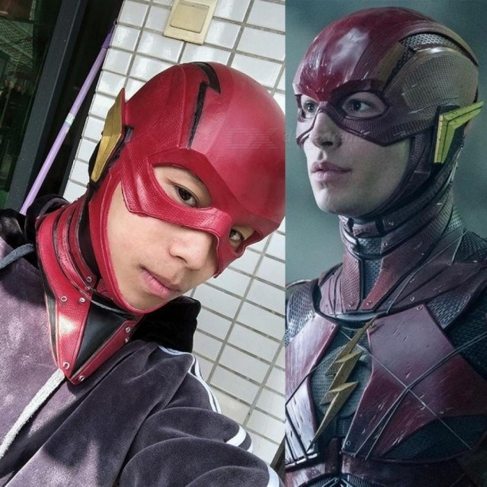 Movie Justice League Mask The Flash Allen Cosplay Helmet Red Mask Adult Halloween Full Face Latex Cosplay Mask