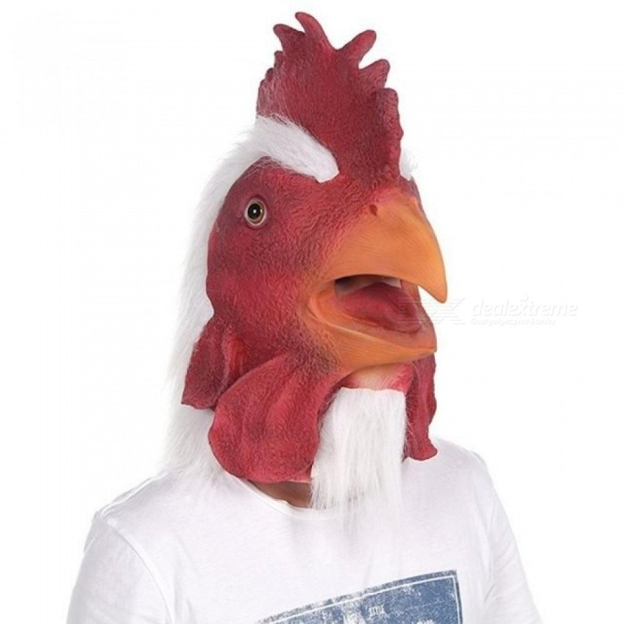 Mask Rooster Latex Animal Head Red Mask For Halloween Costume Full Face Mask With Red And White Color For Adult