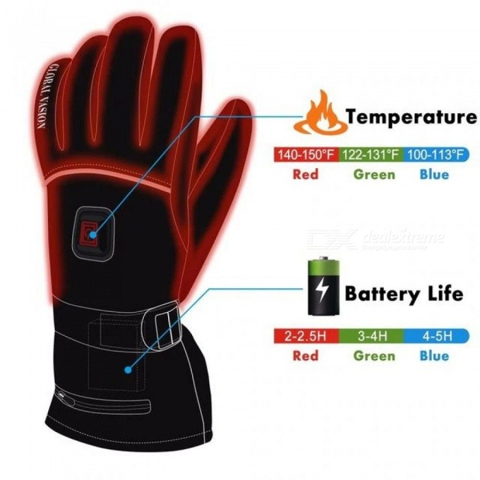 Winter Electric Heated Gloves with Rechargeable Li-ion Battery, Waterproof Insulated Heating Driving Gloves, Thermal Arthritic