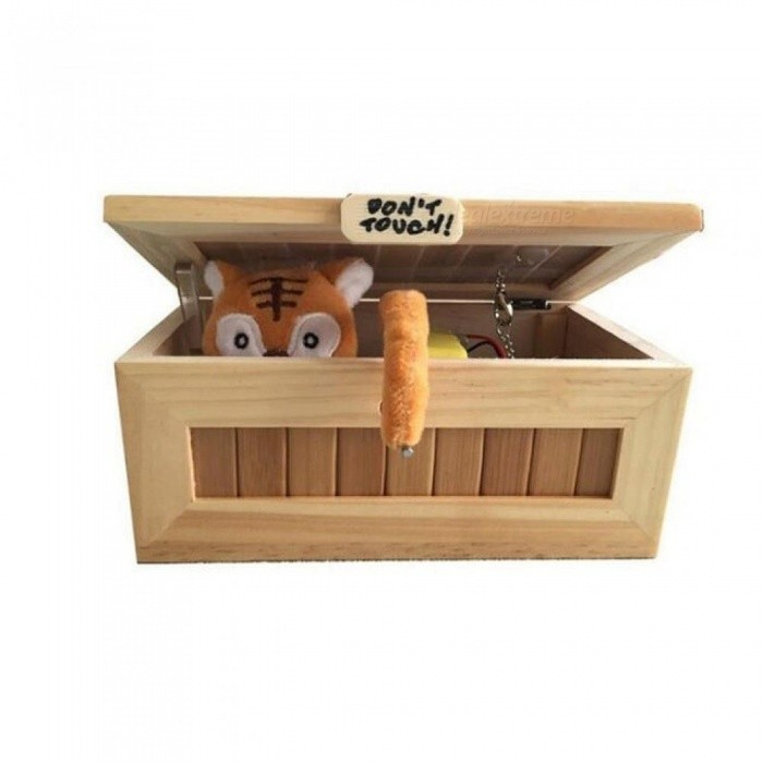 Wooden Electronic Useless Box Cute Tiger Fun Toy Interesting Toys Stress-Reduction Antistress Desk Decoration