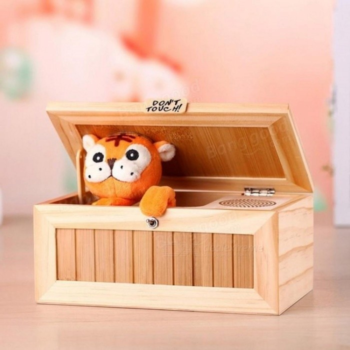 Wooden Electronic Useless Box with Sound Cute Tiger 10 Modes Funny Toy Gift Stress-Reduction Desk Decoration