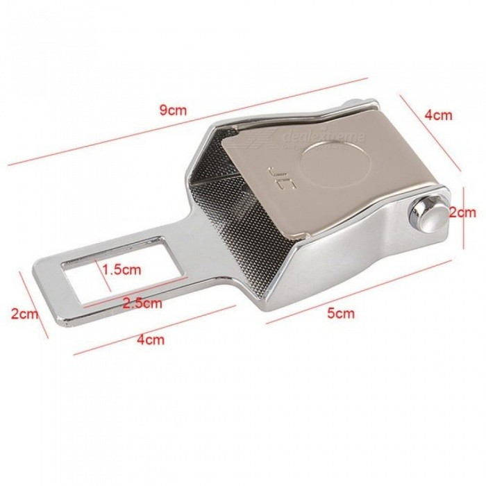 Car Seat Belt Clip Extender Stainless Steel Material Safety Belt Buckle With Silver Size Color 9*4*2 CM