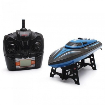 High Speed RC Boat H100 2.4GHz 4 Channel 30km/h Racing Remote Control Boat with LCD Screen as gift For children Toys Kids Gift Blue