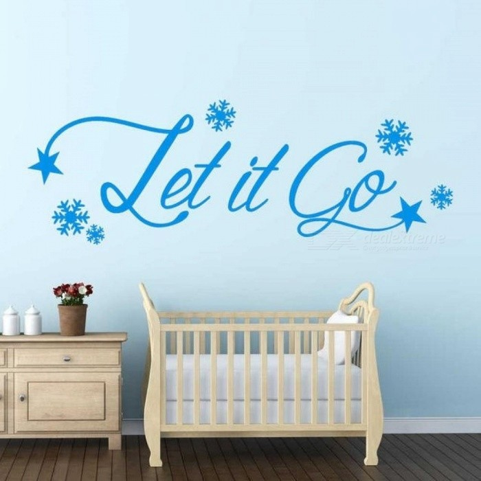Let It Go Frozen Wall Art Sticker Quote Kids Room Snowflakes Wall