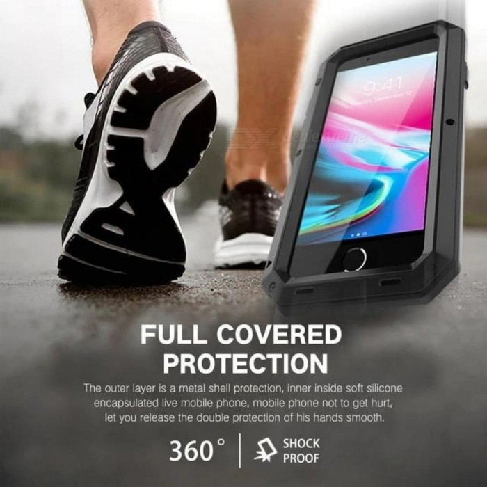 Heavy Duty Protection Doom armor Metal Aluminum phone Case for iPhone 6 6S 7 8 Plus X 4 4S 5S SE 5C Shockproof Dustproof Cover