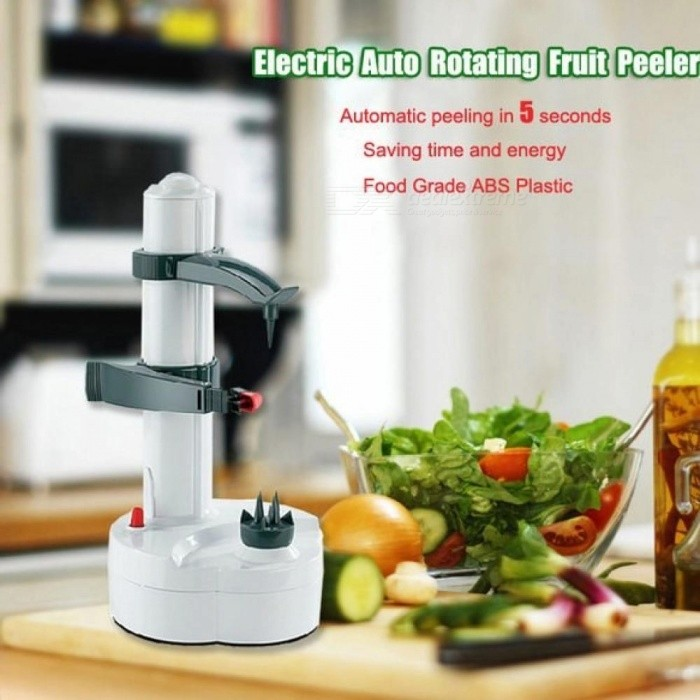 Electric Auto Rotating Potato Peeler Pear Fruit Vegetable Cutter Slicer Kitchen Utensil Stainless steel + ABS Material