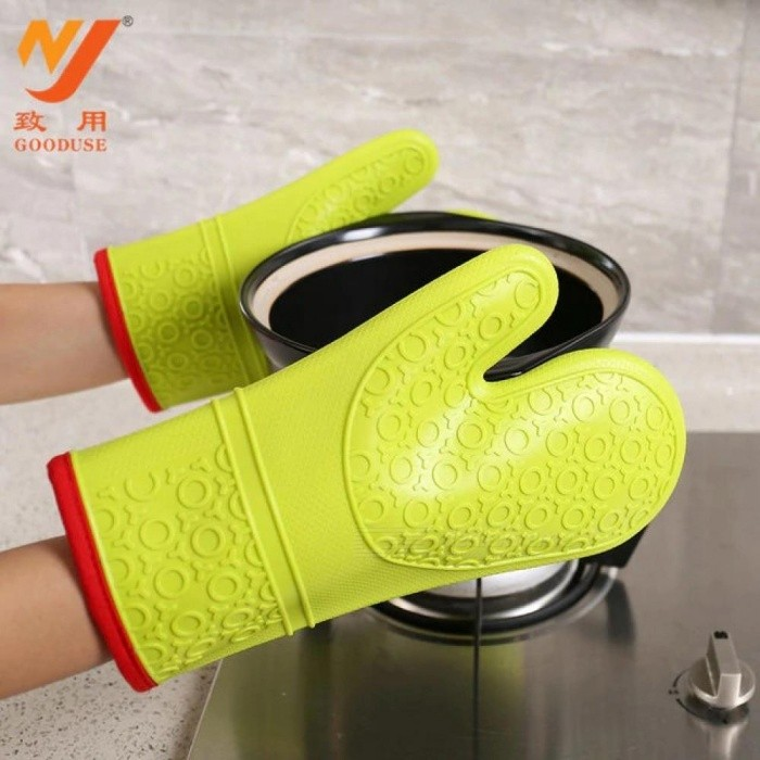 Lengthen Oven Mitts Glove Heat Resistant Insulation Cotton Clip Glove Baking Kitchen BBQ Silicone Pot Holders Gloves Heated