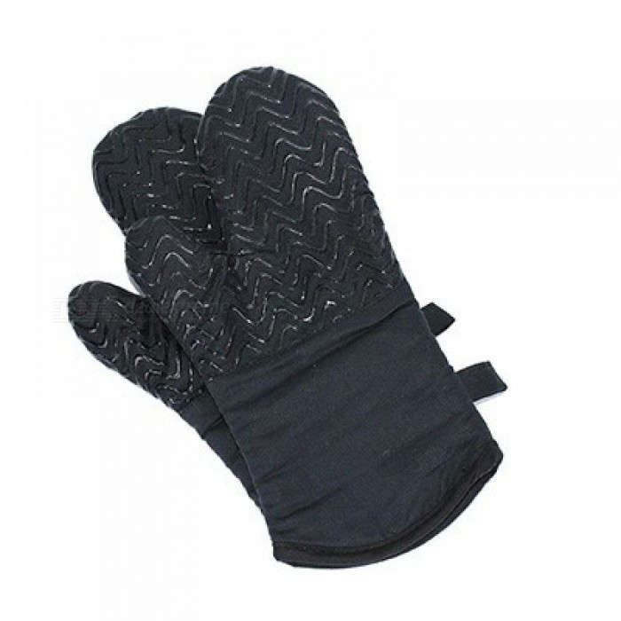 Cotton Silicone Gel Microwave Oven Mitts Heat Insulation Heat Resistance High Temperature Gloves Baking Oven Anti-Slip Gloves