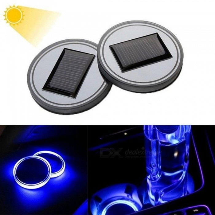 Solar Powered Cup Mat Anti-slip Waterproof LED Cup Holder Coaster Pad Mat Cushion For Truck Car SUV Interior Decoration