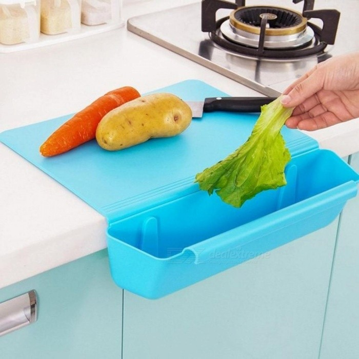 Kitchen 2-In-1  Storage With Counter Edge Cutting Board With Scrap Bin Plastic Thicken Chopping Board