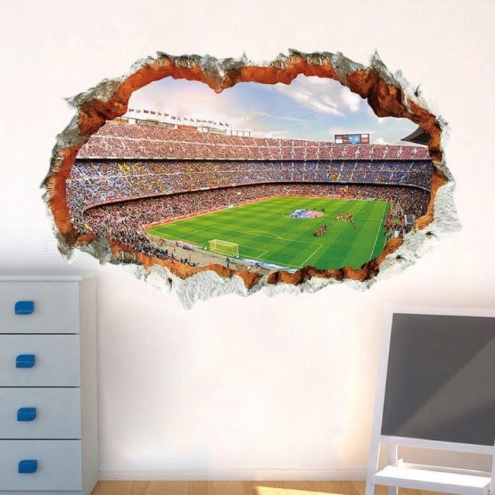 Broken Wall 3D Soccer Field Wall Stickers For Kids Baby Rooms Bedroom Home Decoration Mural Poster Football Sticker Art Decals