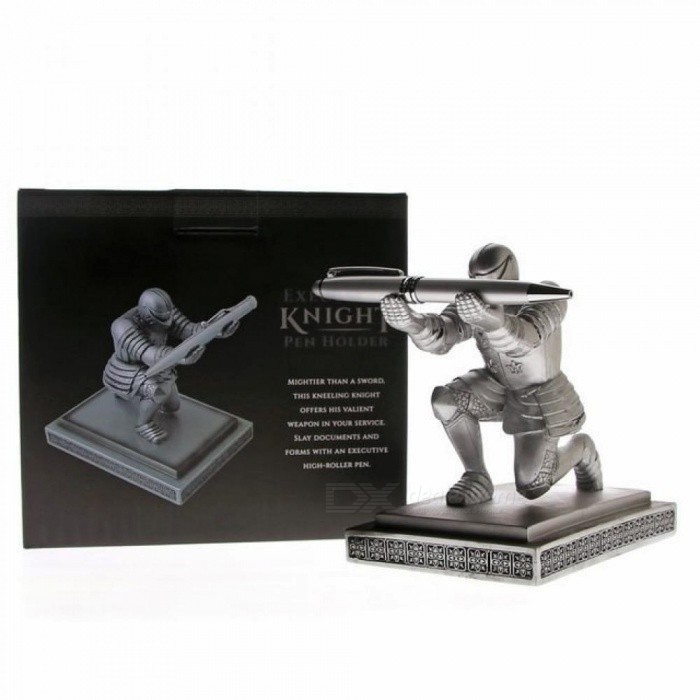 Executive Medieval Bowing Knight Pen Holder Stand Gift Desktop Decoration Armor Soldier Figurine Statue Paperweight