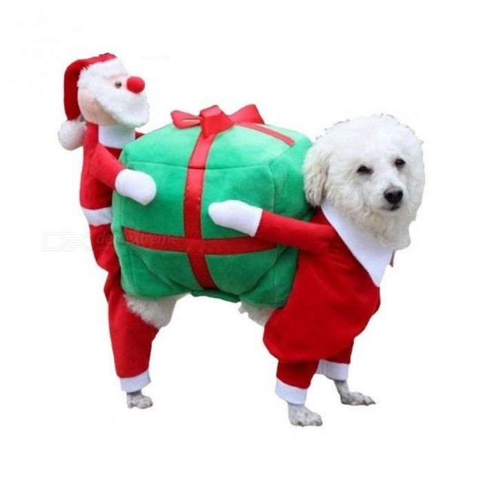 Funny Pet Dog Carry a Christmas present Rodeo Cowboy Costume Halloween/Christmas Party Clothing Clothes