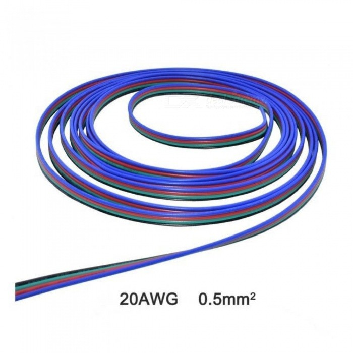 4 Pin RGB Extension Cable Wire Cord For 5050/3528 LED Strip Tape Flat Ribbon Electric Wire 10M/Pieces