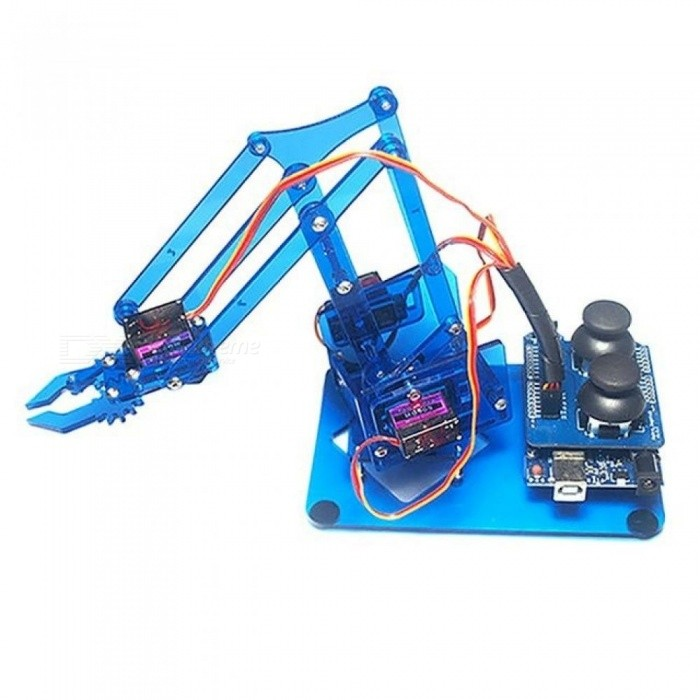 For Arduino Robot Arm 4 Axis Rotating Kit With Joystick Button Controller 4 PCS Servo Acrylic Material