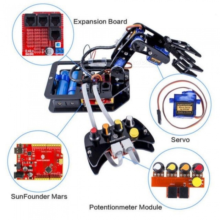 Electronic Diy Robotic Arm Kit With 4-Axis Servo Control Rollarm with Wired Controller for Arduino Uno R3