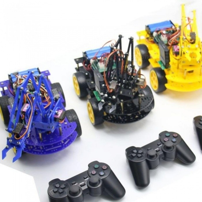 Robot Arm Car for Arduino Program with PS Wireless Remote Control Toy Model  For Kids Gift Multi-Colors Optional Blue