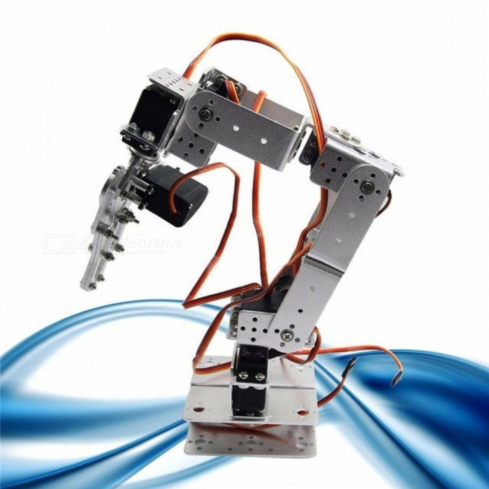 Robot Smart Robot ROT2U 6DOF Aluminium Robot Arm Clamp Claw Mount Kit With Servos For Arduino Silver  Color