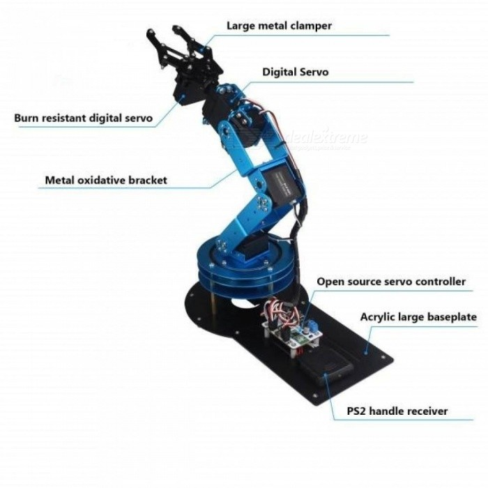 6DOF Mechanical Robot Arm With Digital Servo and Controller For DIY Unassembled Metal Material Blue Color