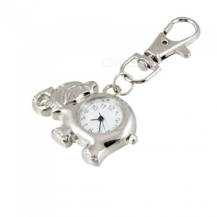 Elephant Shaped Arabic Number Round Dial Watch Key Ring KeychaIn With Silver Tone Color Metal Material