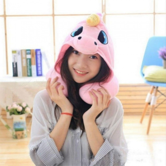 AU Cartoon Unicorn Neck Rest U-Shaped Travel Hooded Pillow Cushion Compact Soft With  Blue&Pink Color