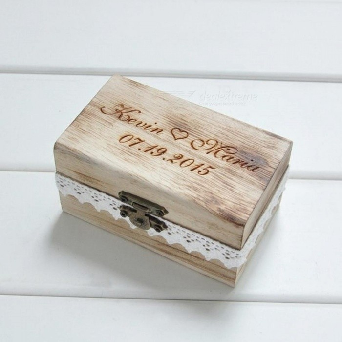 Personalized Gift Rustic Wedding Ring Bearer Box Wood Wedding Ring Box Size 10*6*5 CM Wooden Material