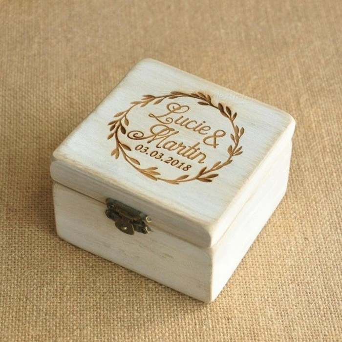 Personalized Wood Wedding Ring Box Personalized Wedding / Valentines Engagement Box 9.5*9.5*6 CM Wooden Material
