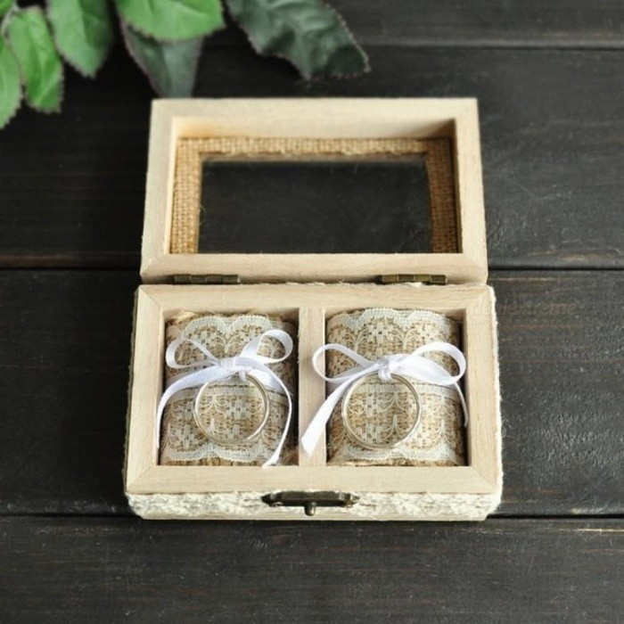 Personalized Wedding Ring Wooden Box Double Ring Box Rustic Jewelry Box Wedding Ring Holder Wooden Material