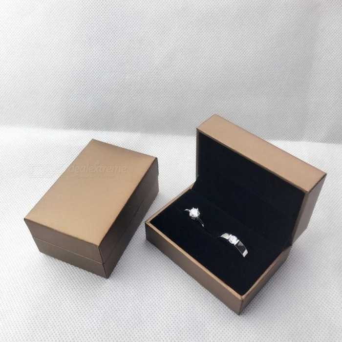 Engagement Wedding Couple Ring Box Black Brown PU Leather Jewelry Rings Packaging Box Gift Box Earring Stud Storage Case