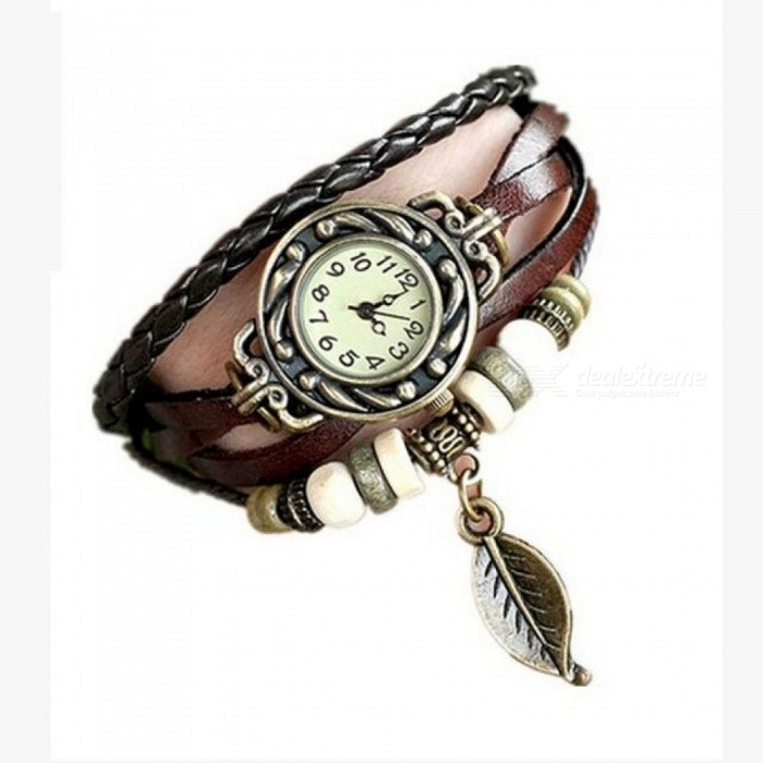 Women Girl Vintage Watches Boho Bracelet Wristwatches For Women With leaf Pendant Punk 18 CM Length Coffee