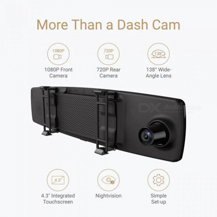 Dash Cam Dual Dashboard Camera Recorder Touch Screen Front Rear View HD Camera G Sensor Night Vision Parking Monitor