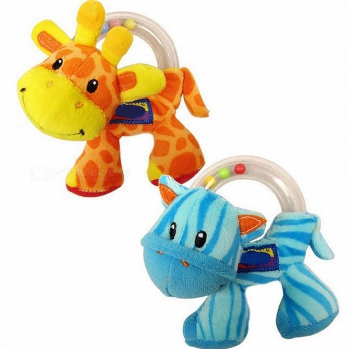 0-12 Months Baby Toy Cute Giraffe Zebra Plush Toy Kids Ring Balls Rattle Early Educational Hand Training For New Year Gift