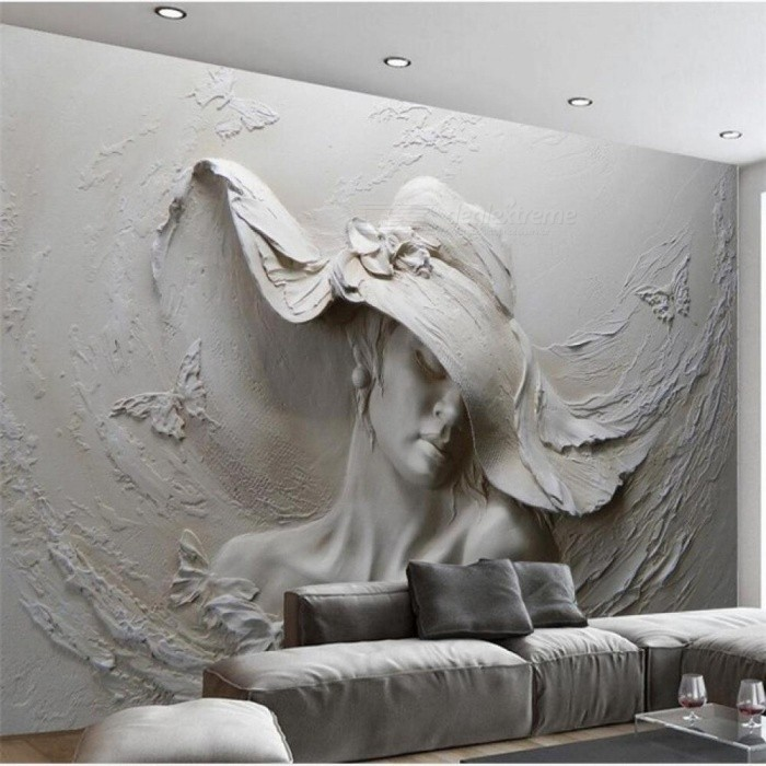86cadacd85 Wallpaper 3D Personality Wallpaper Embossed Gray Beauty Modern Art Painting  Wall Bedroom Abstract 3D Wallpaper