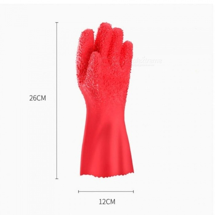 Household Glove Home Peeled Potato Cleaning Gloves Creative Kitchen Peeling Fruits Prevent Allergies Red